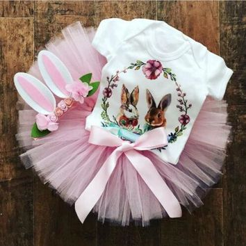 USA Toddler Baby Girls Easter Bunny Tops Romper Tutu Skirt Dress Outfits Clothes