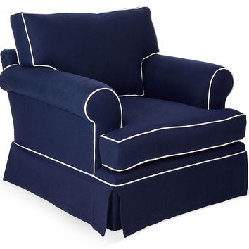 Barclay Butera, Hampton Linen Club Chair, Navy, Club Chairs