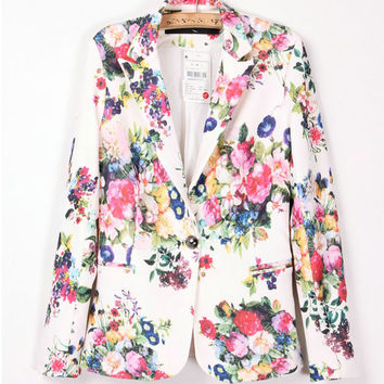 New 2016 Women Blazer Spring Fashion Floral Print Single Button Ladies Blazer And Coats Brand Womans Suits Blaser De Femininos