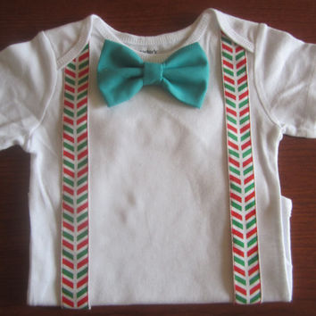Boy red green suspender outfit, Boy Christmas bodysuit, Baby gold bow tie Onesuit, boy green bow tie Onesuit, boy X mas bow tie outfit