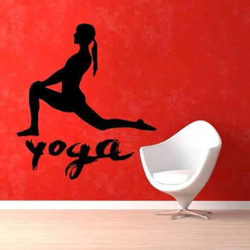 Wall Decals Quote Girl Fitness Gym Vinyl Sticker Murals Yoga Studio Decor KG299