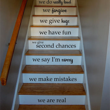 In This House Quote Staircase Wall Vinyl Decal Sticker Decals