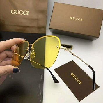 GUCCI Popular Women Men Personality Frameless Spectacles Shades Eyeglasses Glasses Sunglasses Yellow I