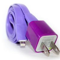 Purple iPhone 5/5s/5c Charger - 1m/3ft iPhone 5/5s/5c Cable and Plug