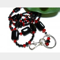 Beaded Lanyard Id Necklace Black Red Fashion Handmade Jewelry Strong Breakaway and Angel