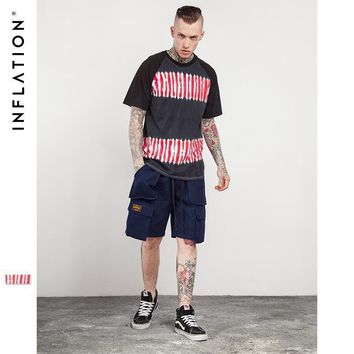 INFLATION 2017 Summer Tie Dye Striped Crewneck Short Sleeve T