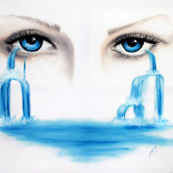 Fall of tears - tear face art - emotion eye - waterfall painting - oil painting - sensual painting blue art - original painting - sadness