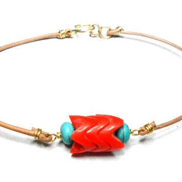 Leather Friendship Bracelets zigzag turquoise coral by zurdokero