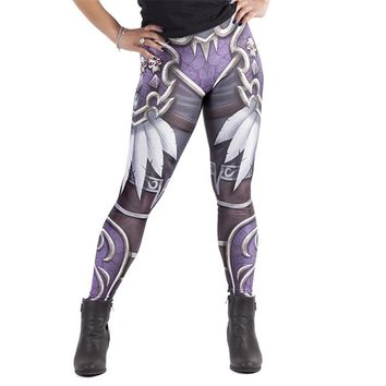 Vintage Skull Battle Armor Women's Purple Slim High Waisted Elastic Printed Fitness Workout Leggings
