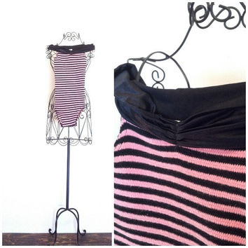 80s Dance Leotard Workout Gear Pink and Black Off the Shoulder Striped Pink Lady