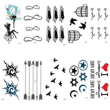 RU2PCS HC51-75 Women Sexy Finger Flash Fake Tattoo Stickers Liberty Small Birds Flying Waterproof Temporary Tattoos Sticker