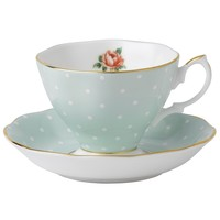 Polka Rose Mint Cup and Saucer