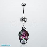 Vibrant Mayan Tribal Skull Belly Ring