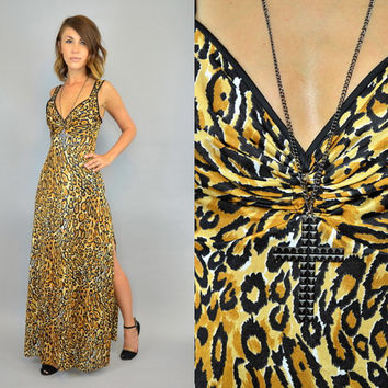 vintage 1990s exotic animal print LEOPARD cheetah high slit MAXI DRESS, extra small-small