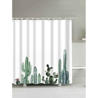 Cactus Print Shower Curtain With 12pcs Hook