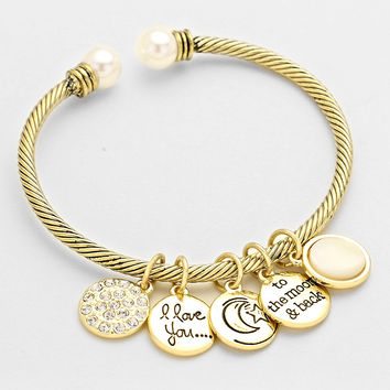I Love You To The Moon And Back Gold Charm Cuff Bracelet