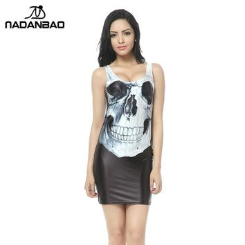 Free Shipping Newest White Skull Dresses Black Skull Print Mini Bodycon Women Summer bandage dresses for Party Club TTQ1012