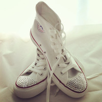 Crystal Converse, White Converse high top by CUSTOMDUO on ETSY