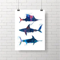 Shark Watercolor Art, Digital Download, Watercolor Image, Image Transfer, Shark Clipart, Downloadable Art
