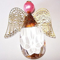 "Angel Pin Brooch Clear Crystal & Pink Bead Head Halo Gold Filigree Wings BIG 3"" Vintage"
