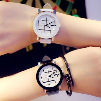 Korean Fashion Retro Unisex Watch Simple All-match Couple Watch (With Battery&Watch Box)