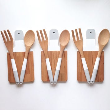 Paddle Cutting Board and Kitchen Utensil Set - Color Block | Host Gift | Wooden Salad Serving Set | Wood Cutting Board | Wood Spoon and Fork