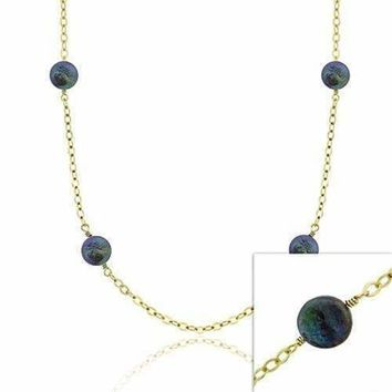 18K Gold over Sterling Silver Freshwater Cultured Peacock Coin Pearl Chain Necklace, 30 inch