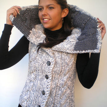 Variegated Grey Fashion Short Sweater Vest Hand Knit Braid Vest Trendy Short Woman Sweater NEW