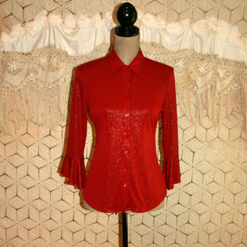 70s Red Blouse Vintage Disco Top Bohemian Bell Sleeve Gold Sparkle Button Up Shirt Red Top Red Shirt Christmas Size 6 Small Womens Clothing