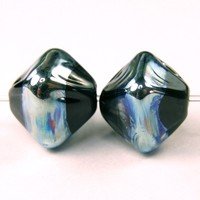 Black Crystal Lampwork Beads Aurae Metallic Band Glossy Beads - $4.00 : Covergirlbeads, Lampwork Beads and Charms Handmade by Glass Artist Charlotte Hayes