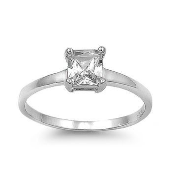 925 Sterling Silver CZ Princess Cut Solitaire Ring 5MM