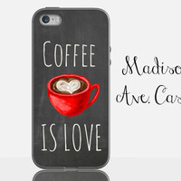 Coffee Latte Lover Quote Espresso Gift Red Mocha Cute Girl Caffeine Chalkboard Samsung Galaxy Edge iPhone 5s 4 4s 6 Plus Tough Phone Case