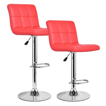 Set Of 2 Bar Stools PU Leather Adjustable Barstool Swivel Pub Chairs Red New