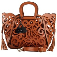 Eabag Womens Delicate Floral Hollow-out PU Leather Designer Shoulder handbags (Brown):Amazon:Shoes