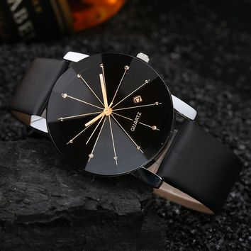 Men Luxury Stainless Steel Quartz Date Sport Leather Band Dial Wrist Watch