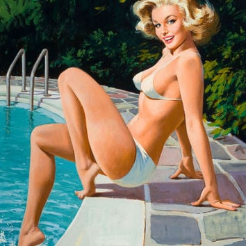 Pin-Up Girl Wall Decal Poster Sticker - At the Pool - Blonde Pinup Pin Up