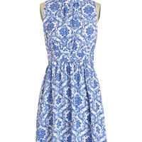 Mid-length Sleeveless A-line Windy City Dress in Delft