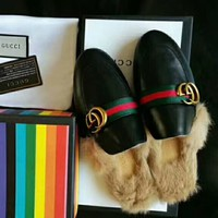GUCCI Fashion Women Leisure GG Letter Leather Rabbit Fur Casual Slippers Shoes I-GCXGCFH-GC