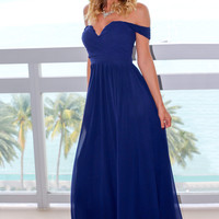 Navy Off Shoulder Maxi Dress with Pleated Top
