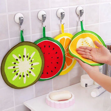 New Lovely Fruit Print Hanging Kitchen Hand Towel Microfiber Towels Quick-Dry Cleaning Rag Dish Cloth Wiping Napkin V3599