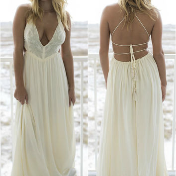 Suntan City Ivory Embroidered Maxi Dress