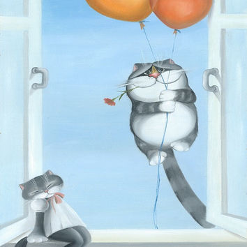 Love You - Cat Art,  Print from Original Oil Cat Painting, Fun Cats, Cute Cats,  Romantic Anniversary Wedding