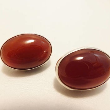 Sterling Silver Red Carnelian Stone Clip On Earrings