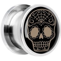 Steel Sugar Skull Screw Fit Plug Pair 0 Gauge