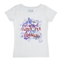 Sweet Tea and Jesus-Female White T-Shirt