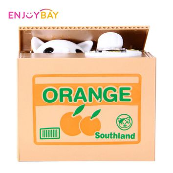 Enjoybay Mischief Saving Box Little Cat Steal Money Toy Funny Animals Cat Automatic Electric Steal Coin Piggy Bank Gift for Kids