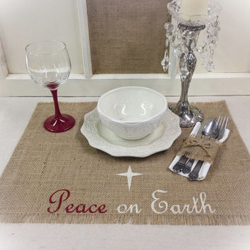Burlap Placemats - set of 4, 6, or 8 with Peace on Earth and a star design