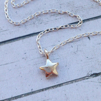 Silver Star Necklace. Tiny Silver Star Necklace. Layered Star Necklace. Layering Jewelry
