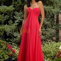 [US$150.99] Red Empire Waist Strapless Sweetheart Satin Chiffon Maxi Evening Gown