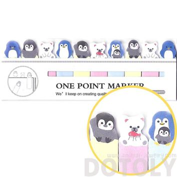 Tiny Penguin Polar Bear Shaped Arctic Animal Themed Sticky Post-it Memo Bookmark Tabs